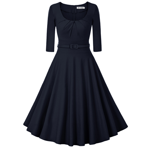 MUXXN Women's 1950s Vintage Scoop Neck Flare Rockabilly Dress