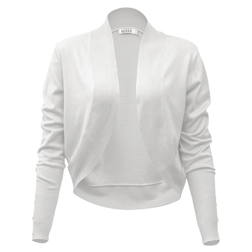 MUXXN Women's Vintage Cardigan Long Sleeve Bolero Knitting Shrug ...