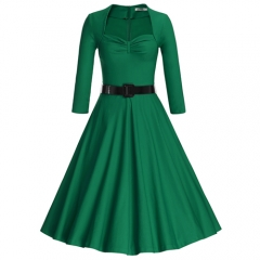 MUXXN Womens Sweetheart Neckline Mid-length Swing Vintage Dress with Sleeves