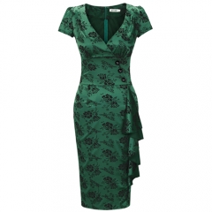 MUXXN Women's Floral 1960s Split Fitted Evening Party Pencil Dress