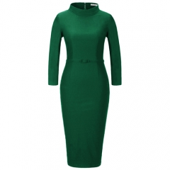 MUXXN Women's Turtleneck 3/4 Sleeve Cocktail Evening Vintage Pencil Dress