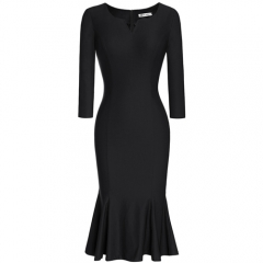 MUXXN Women's 1950s V Neck 3/4 Sleeve Evening Party Mermaid Pencil Dress